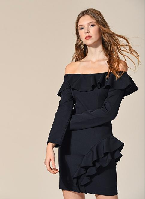 Agenda Volan Detaylı Elbise Siyah